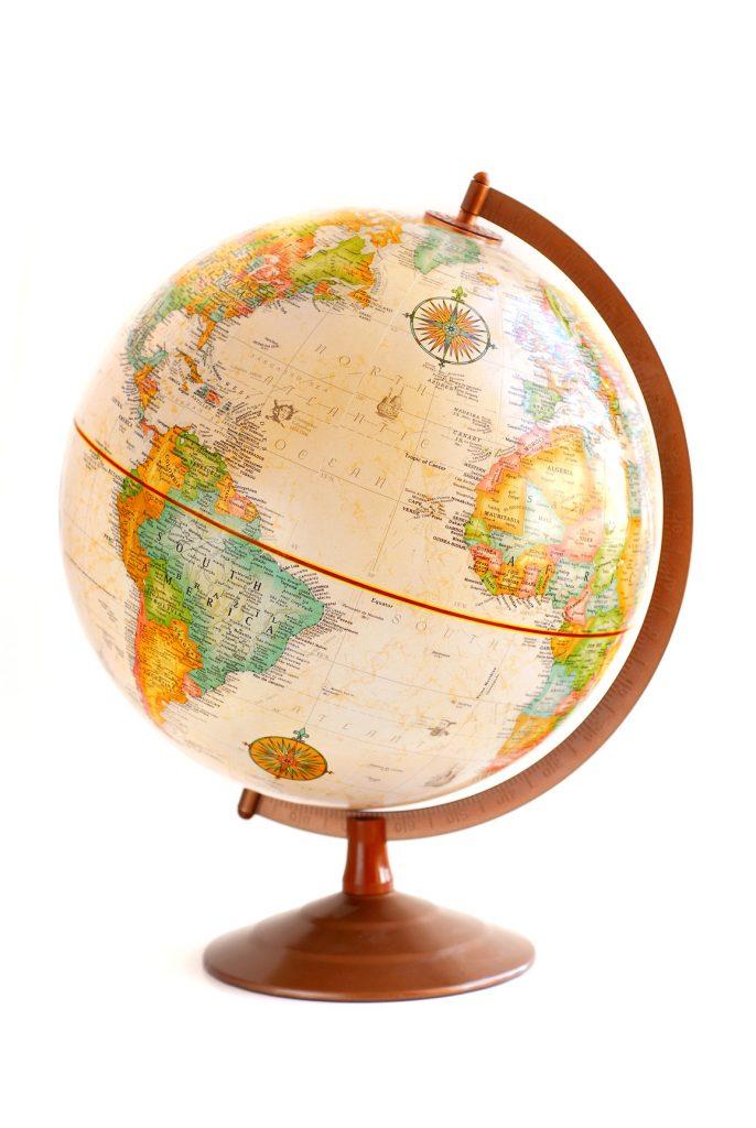 Old fashioned globe isolated on white background